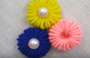 ساخت گل کاموایی برای تزیین با استفاده از مداد و کاموای رنگی